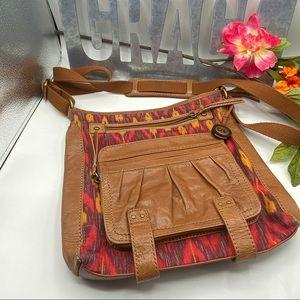 The Sak Crossbody Southwest leather Aztec Brwn Red